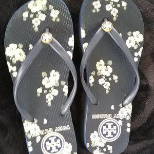 Tory Burch Flower Flip Flops Navy/White